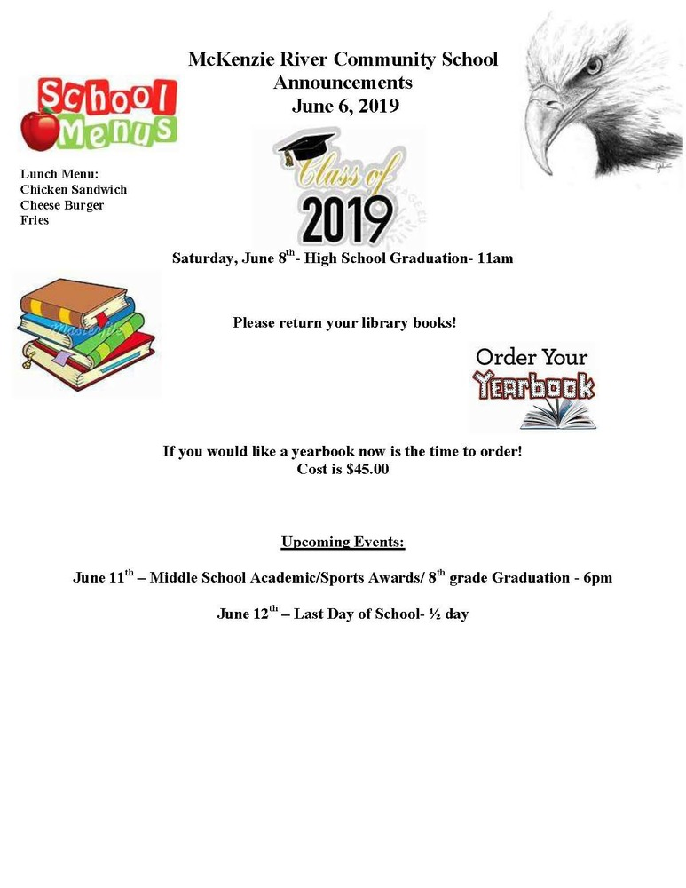 McKenzie River Community School Announcements June 6, 2019