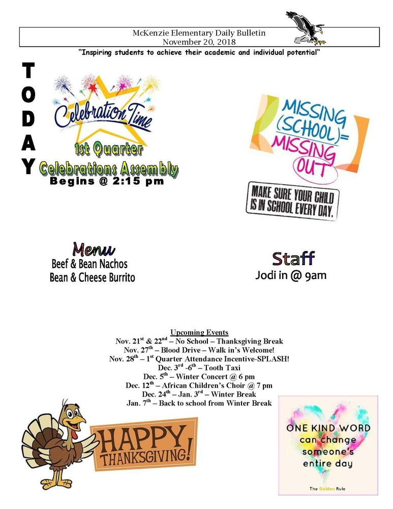 McKenzie Elementary Daily Bulletin November 20, 2018