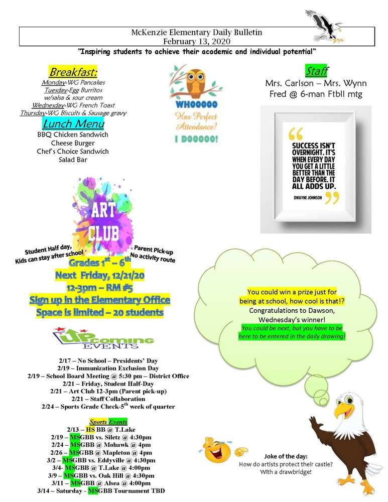 McKenzie Elementary Daily Bulletin February 13, 2020