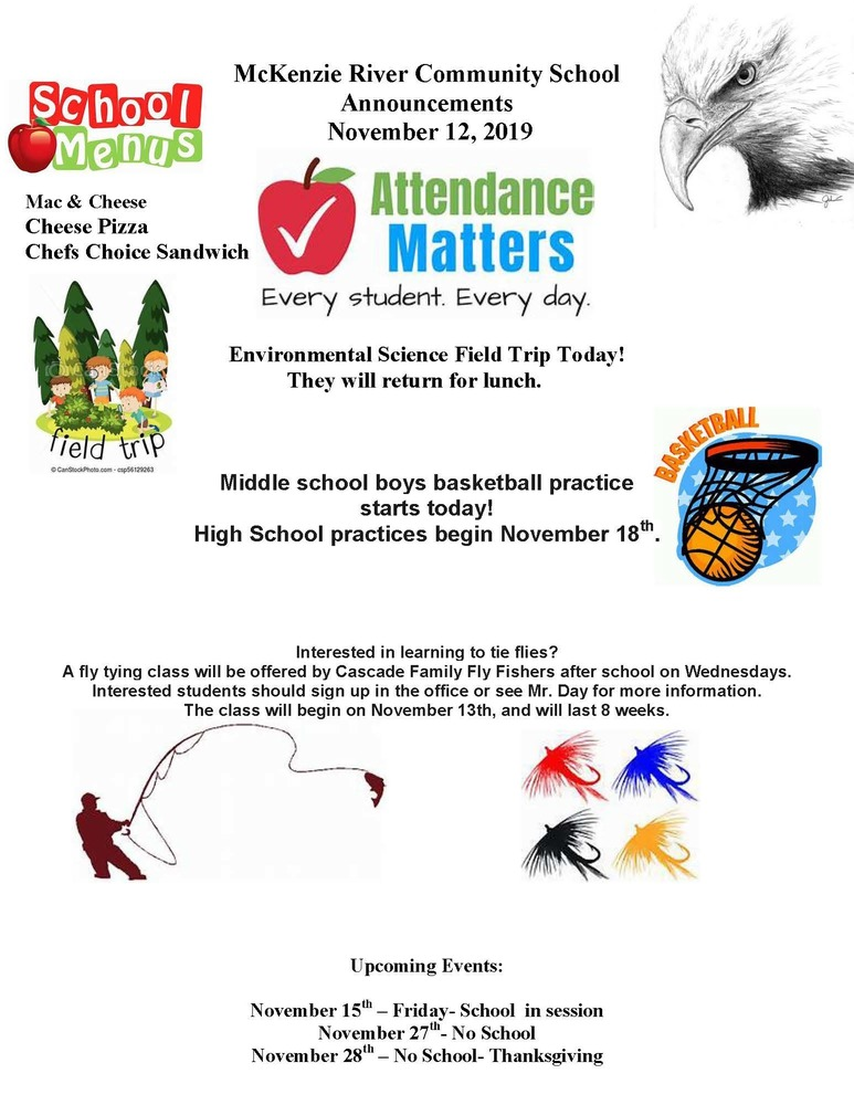 McKenzie River Community School Announcements November 12, 2019