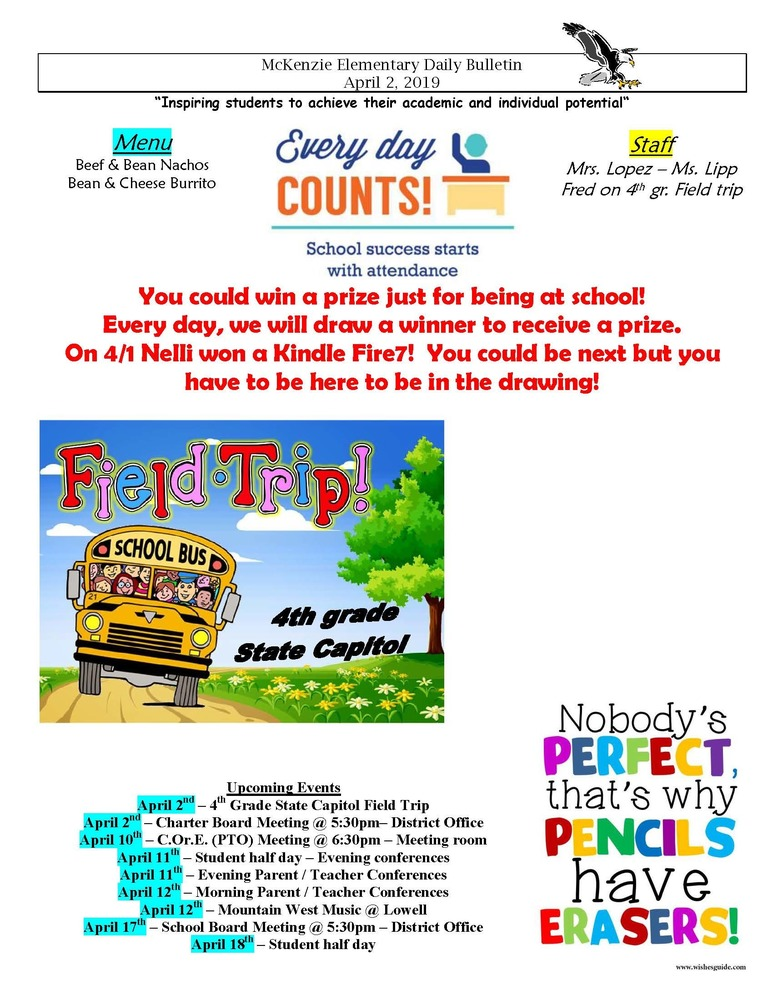 McKenzie Elementary Daily Bulletin April 2, 2019