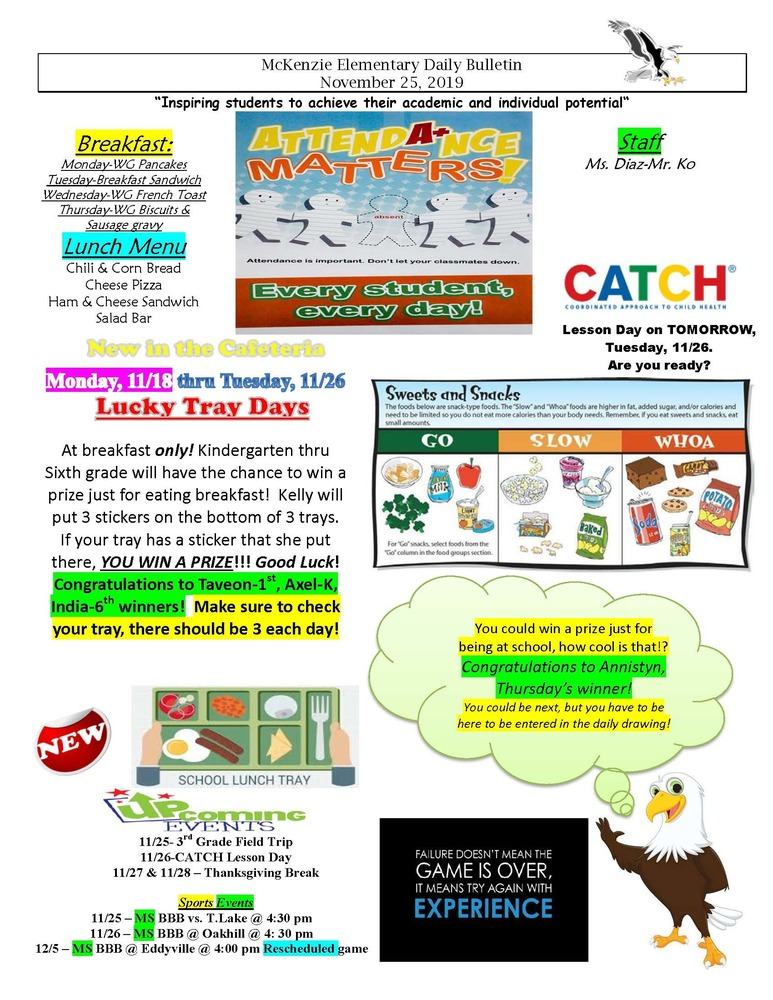 McKenzie Elementary Daily Bulletin November 25, 2019