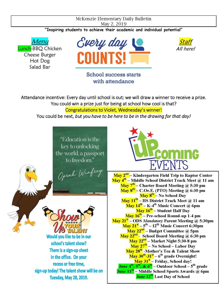 McKenzie Elementary Daily Bulletin May 2, 2019