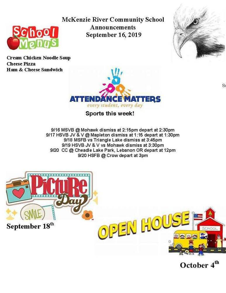 McKenzie River Community School Announcements September 16, 2019