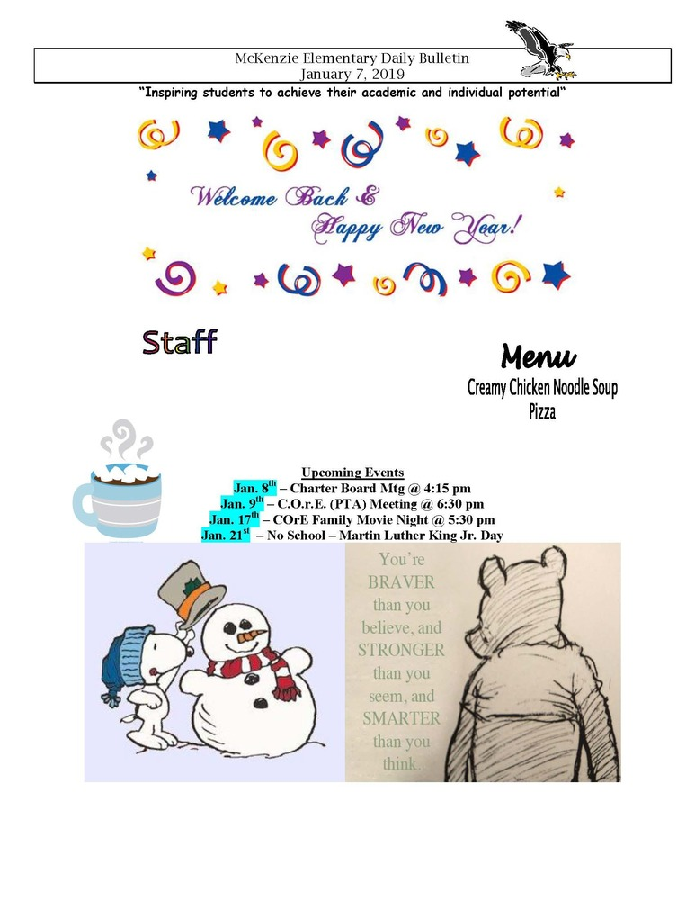 McKenzie Elementary Daily Bulletin January 7, 2019