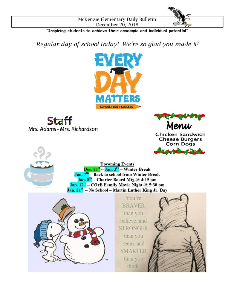 McKenzie Elementary Daily Bulletin December 20, 2018