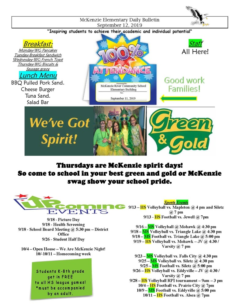 McKenzie Elementary Daily Bulletin September 12, 2019