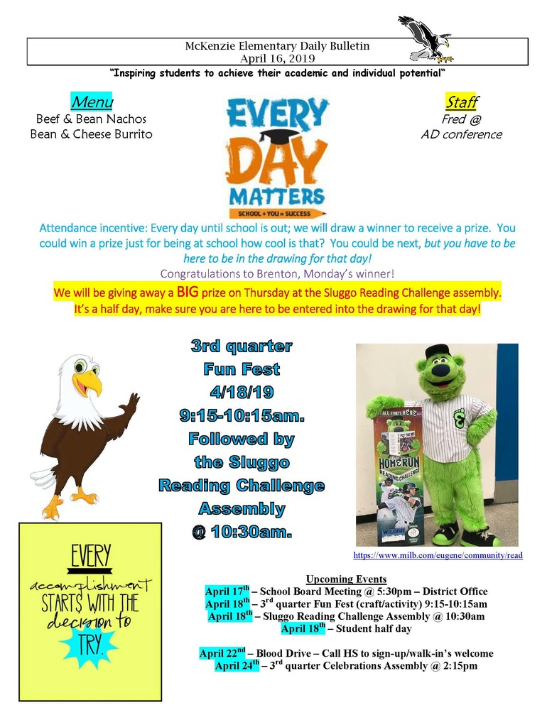 McKenzie Elementary Daily Bulletin April 16, 2019