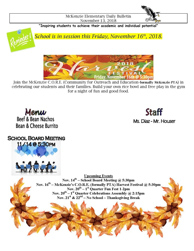 McKenzie Elementary Daily Bulletin November 13, 2018