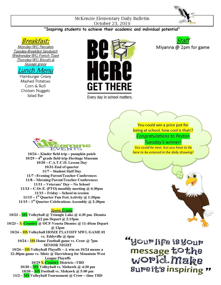 McKenzie Elementary Daily Bulletin October 23, 2019