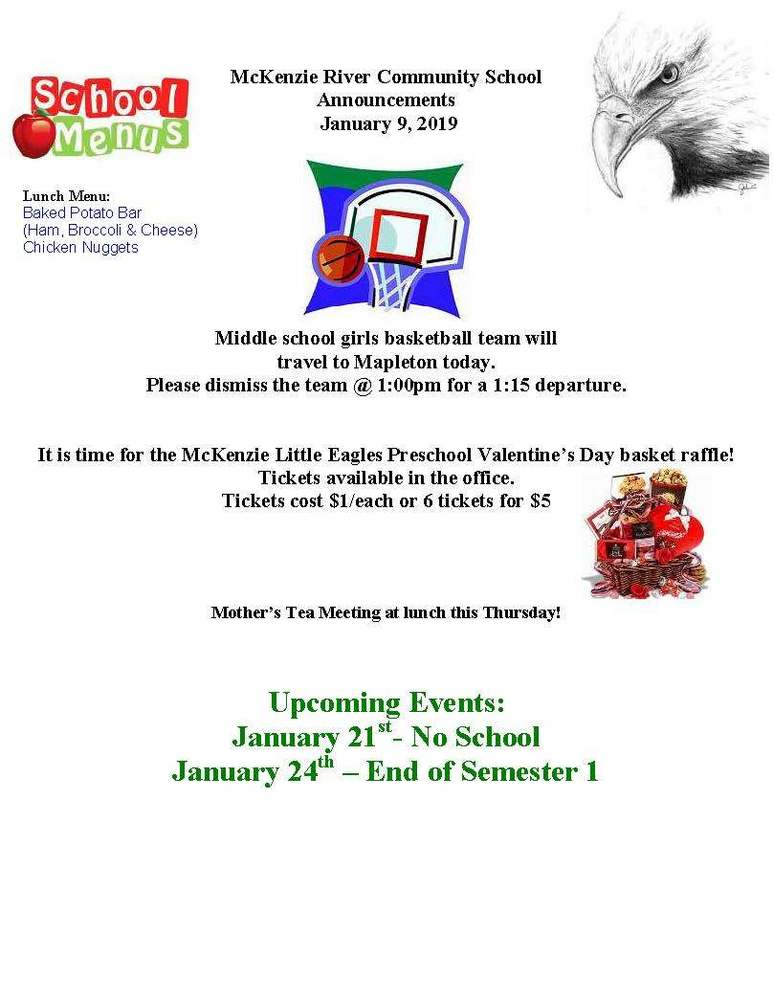 McKenzie River Community School Announcements January 9, 2019