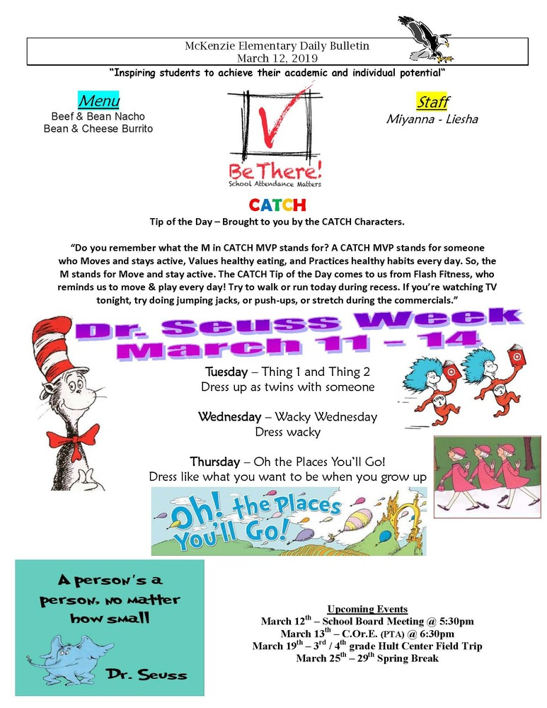 McKenzie Elementary Daily Bulletin March 12, 2019