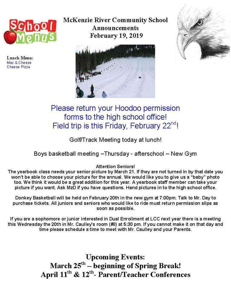 McKenzie River Community School Announcements February 19, 2019