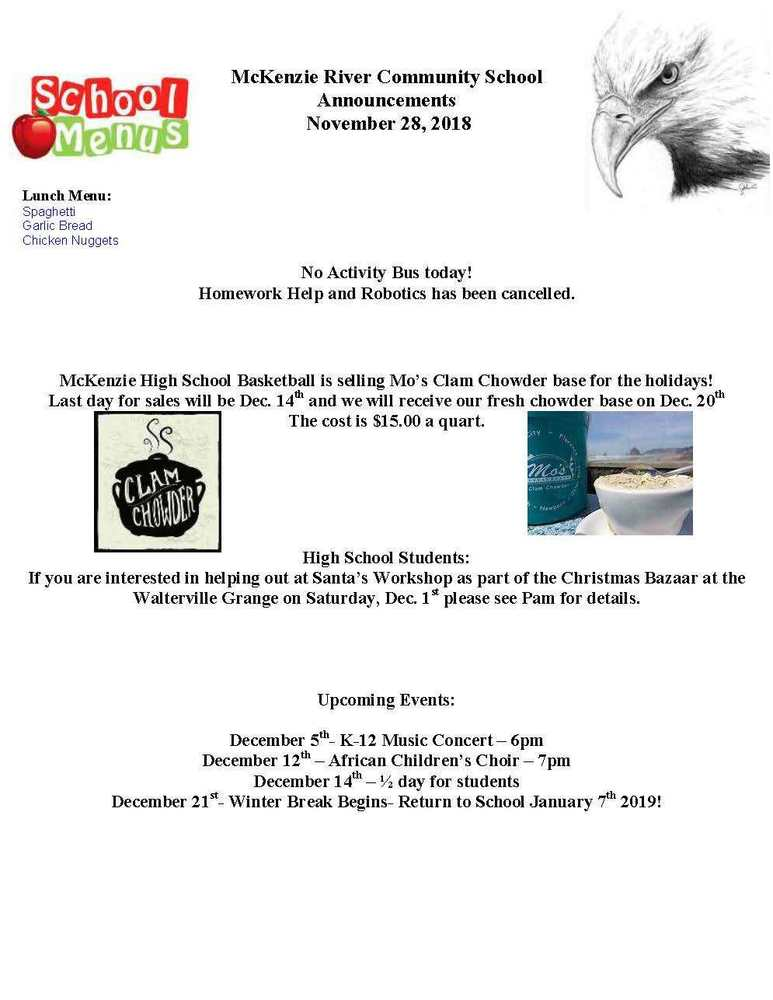 McKenzie River Community School Announcements November 28, 2018