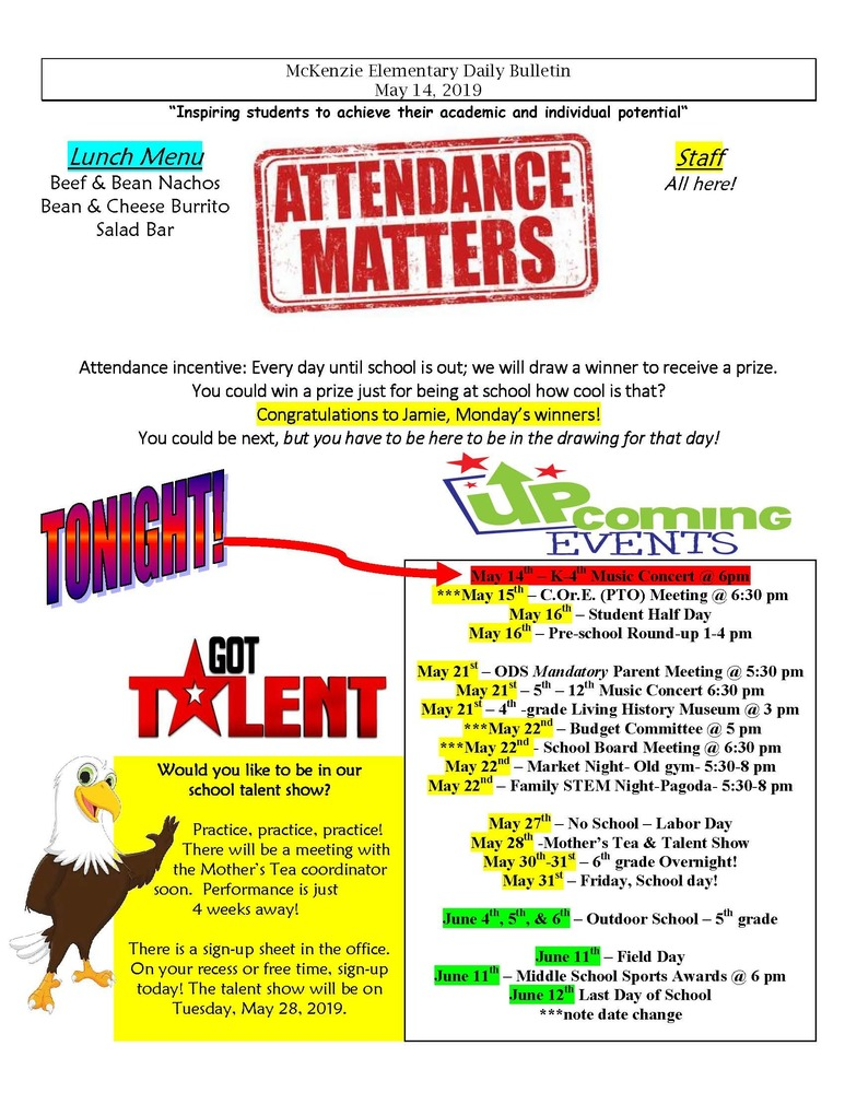 McKenzie Elementary Daily Bulletin May 14, 2019