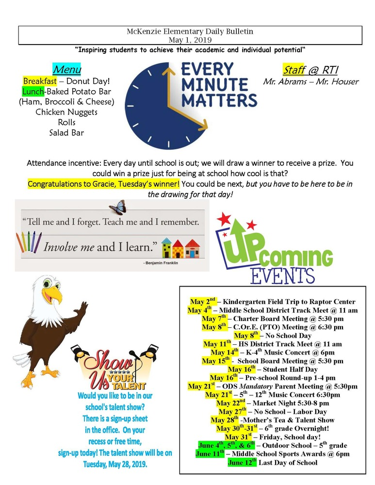 McKenzie Elementary Daily Bulletin May 1, 2019