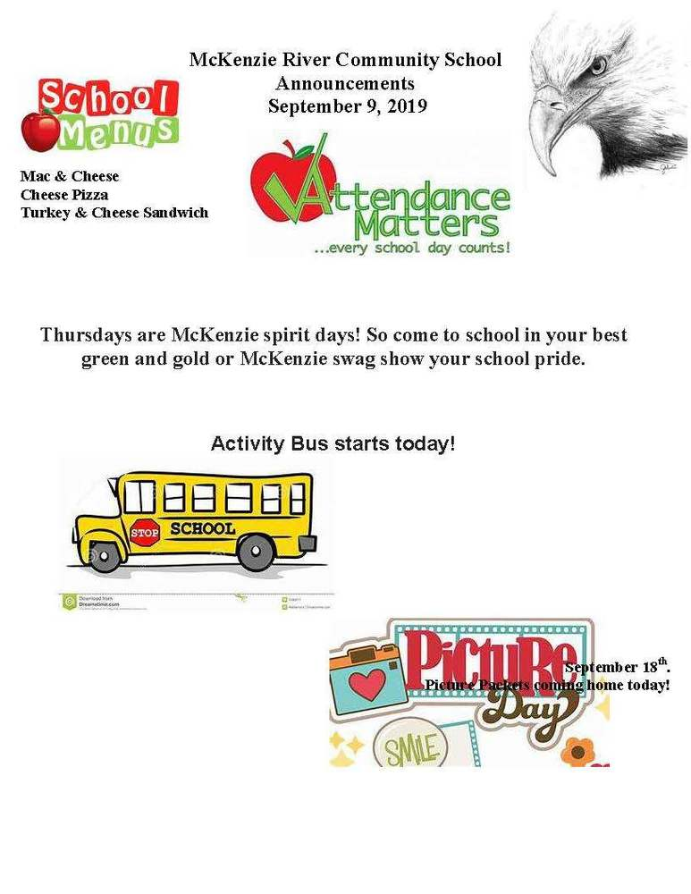 McKenzie River Community School Announcements September 9, 2019