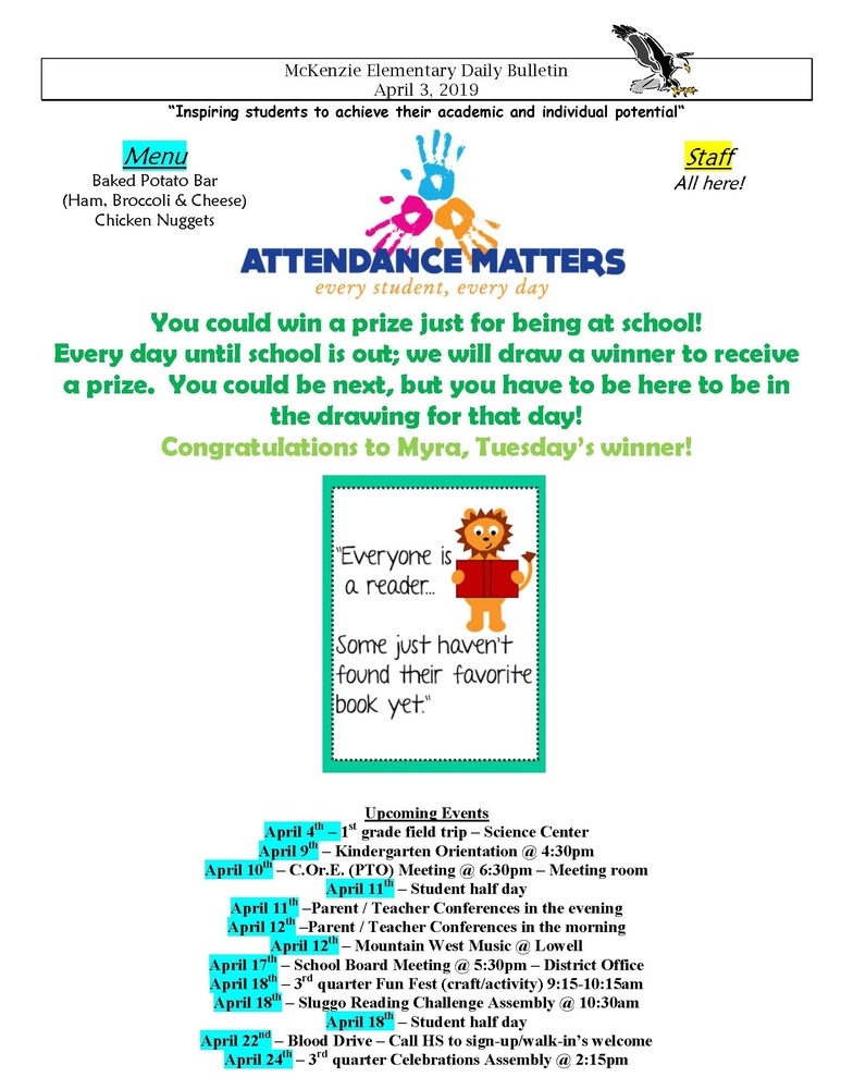 McKenzie Elementary Daily Bulletin April 3, 2019