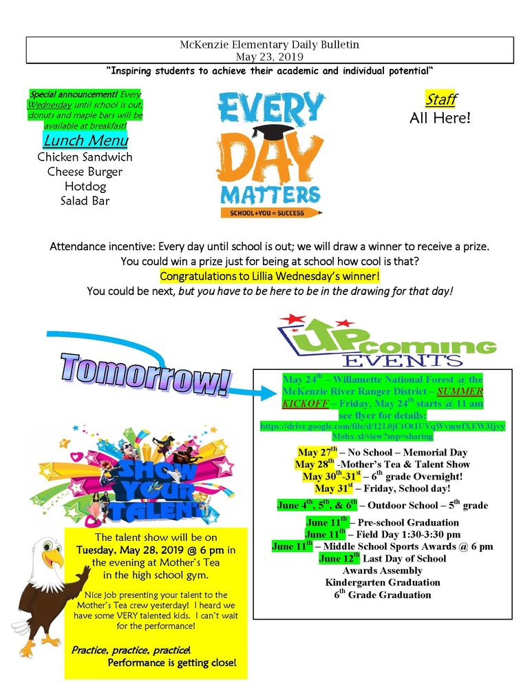McKenzie Elementary Daily Bulletin May 23, 2019