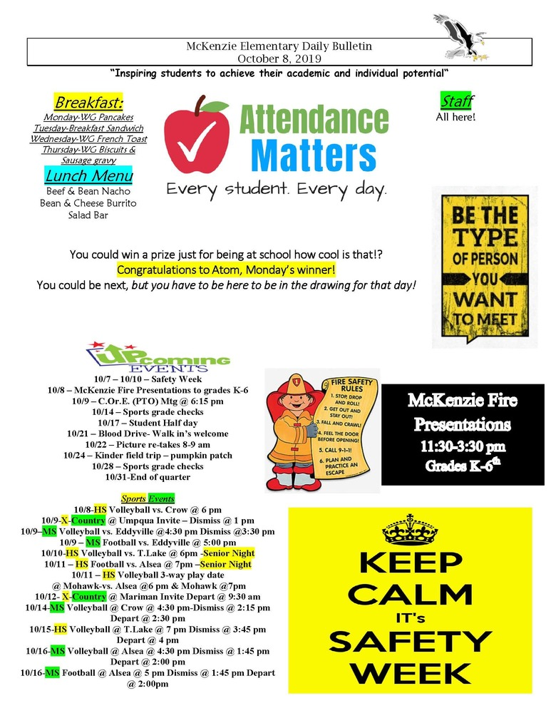 McKenzie Elementary Daily Bulletin October 8, 2019