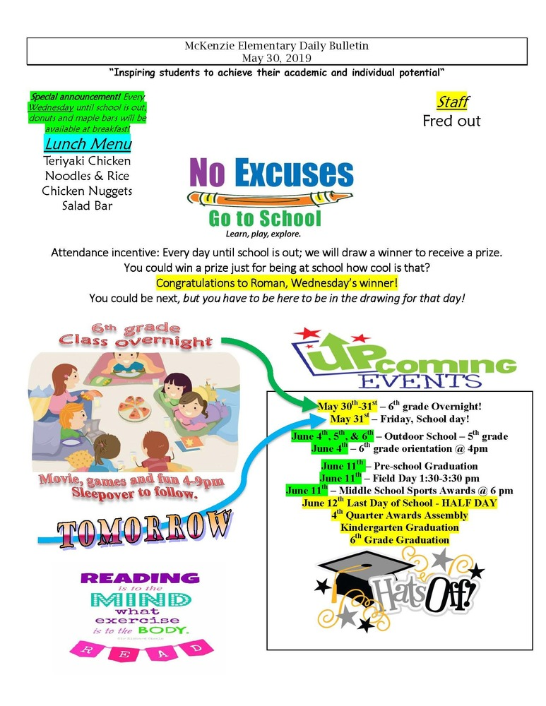 McKenzie Elementary Daily Bulletin May 30, 2019
