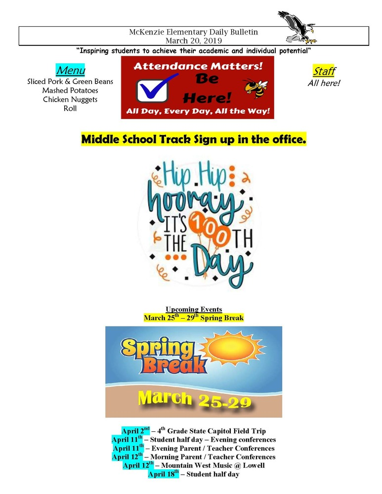 McKenzie Elementary Daily Bulletin March 20, 2019