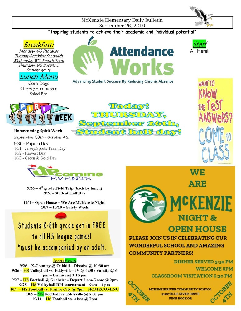 McKenzie Elementary Daily Bulletin September 26, 2019