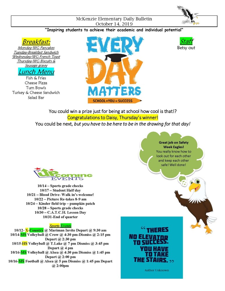 McKenzie Elementary Daily Bulletin October 14, 2019
