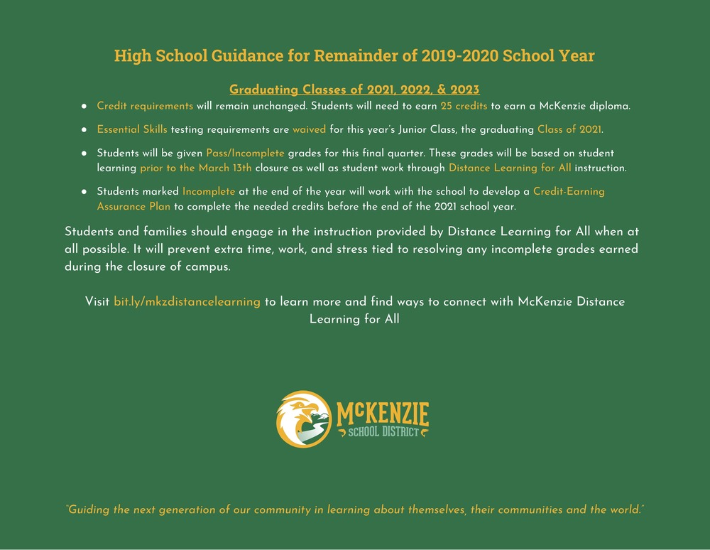 ODE Gives New Guidelines for Grades 9-11 for Remainder of School Year
