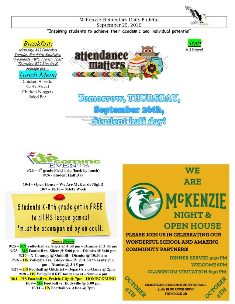 McKenzie Elementary Daily Bulletin September 25, 2019