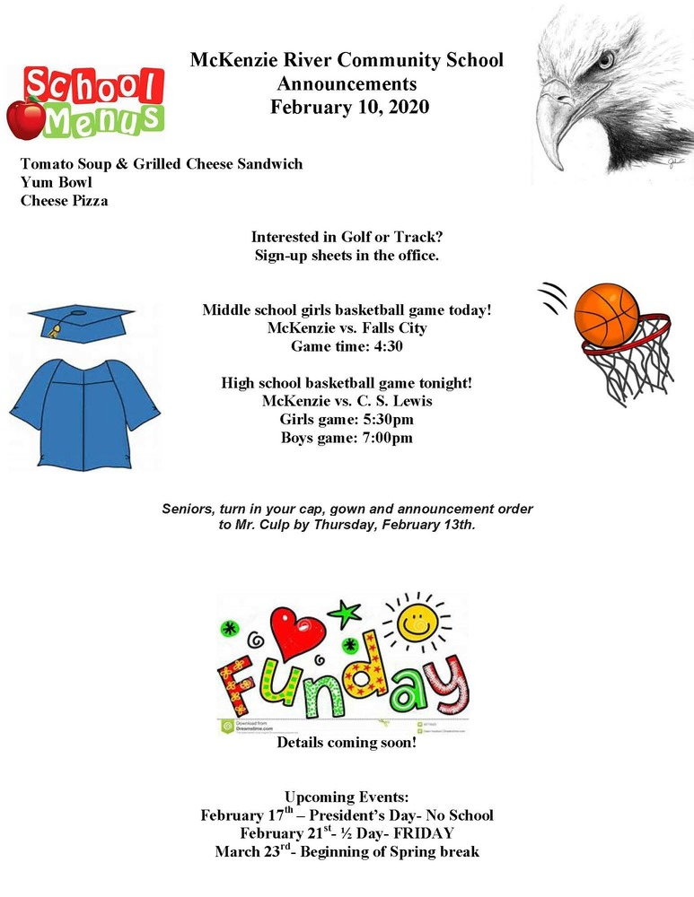 McKenzie River Community School Announcements February 10, 2020