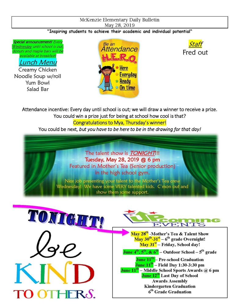 McKenzie Elementary Daily Bulletin May 28, 2019