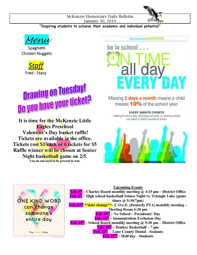McKenzie Elementary Daily Bulletin January 30, 2019