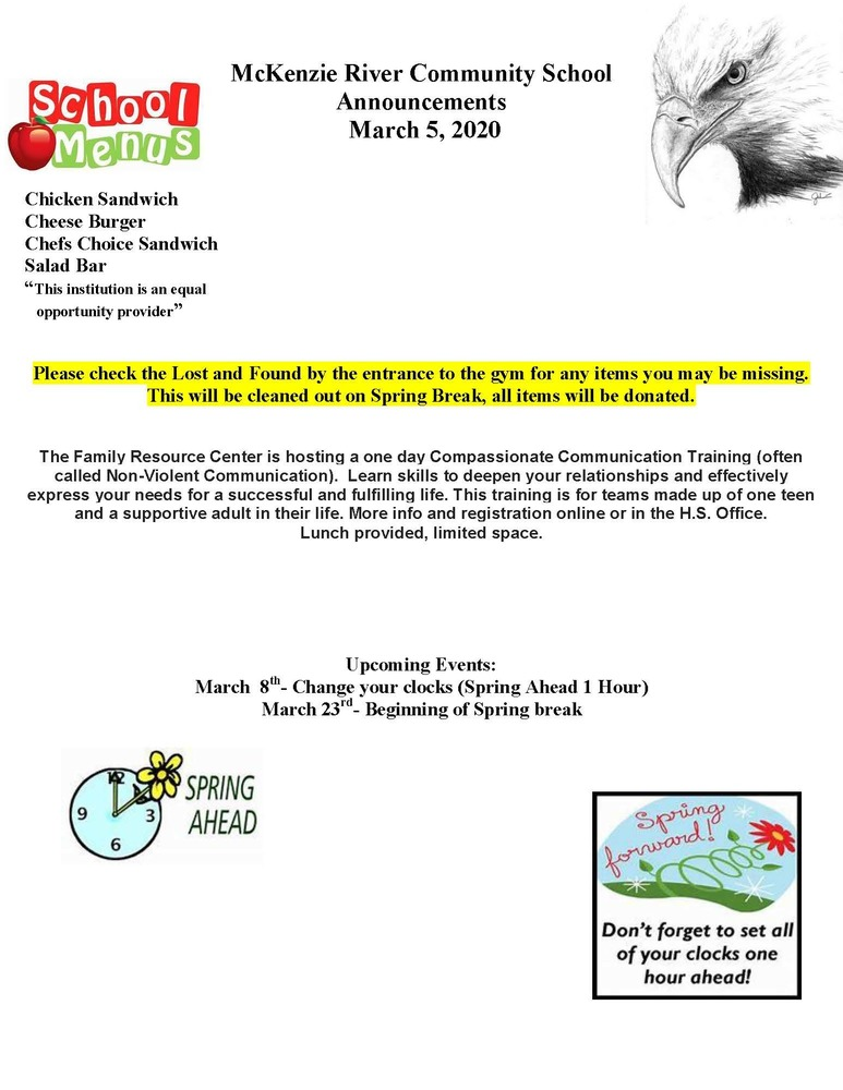 McKenzie River Community School Announcements March 5, 2020