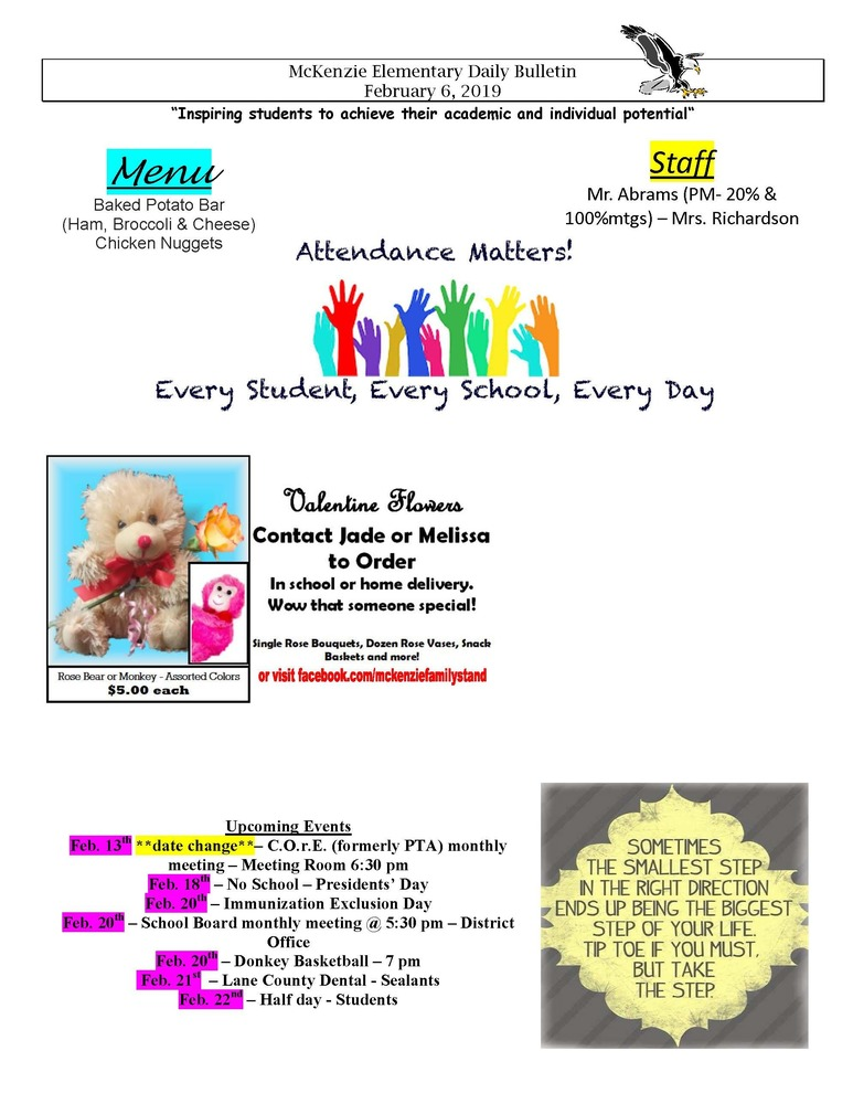 McKenzie Elementary Daily Bulletin February 6, 2019