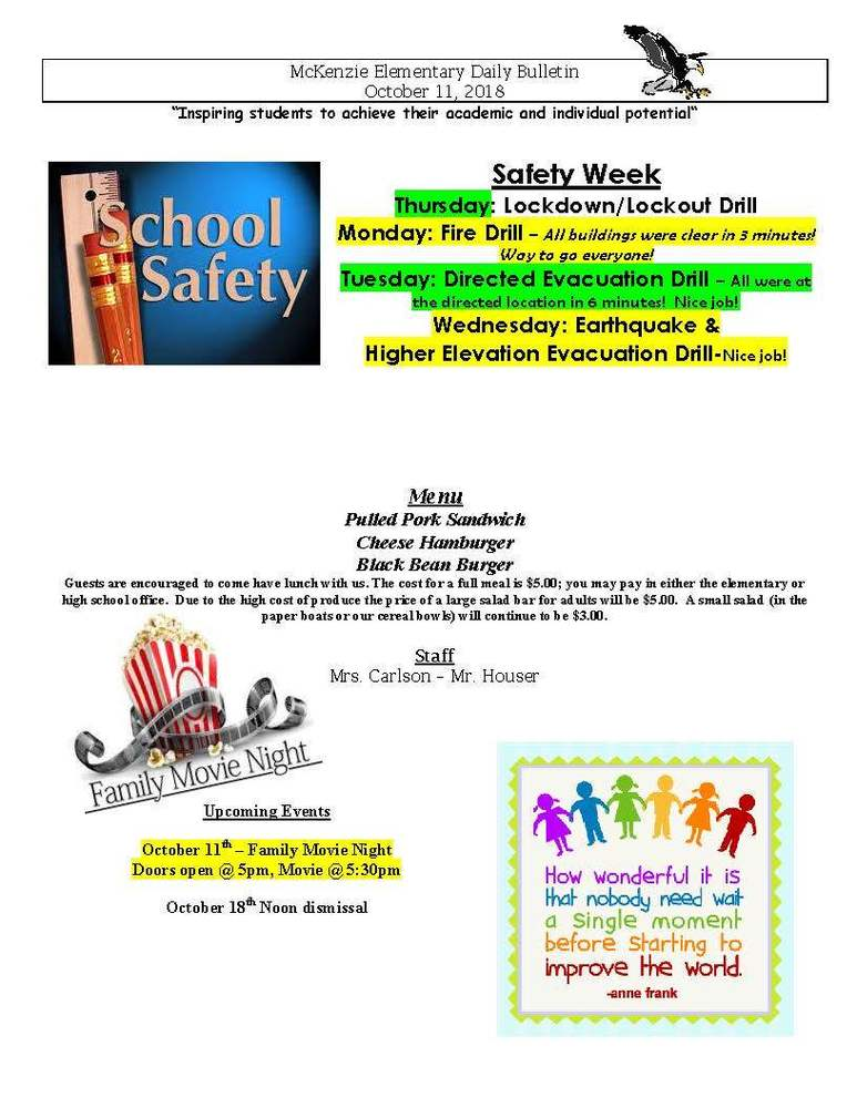 McKenzie Elementary Daily Bulletin October 11, 2018
