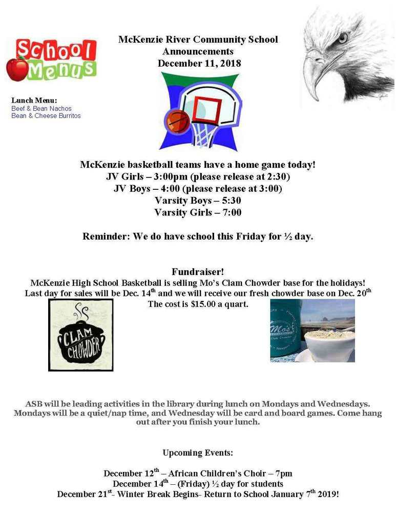 McKenzie River Community School Announcements December 11, 2018