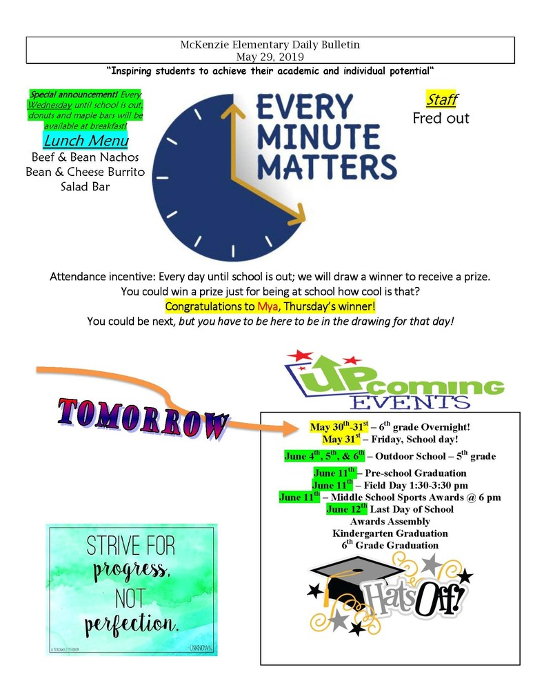 McKenzie Elementary Daily Bulletin May 29, 2019