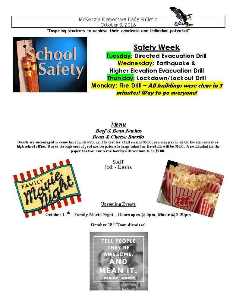 McKenzie Elementary Daily Bulletin October 9, 2018