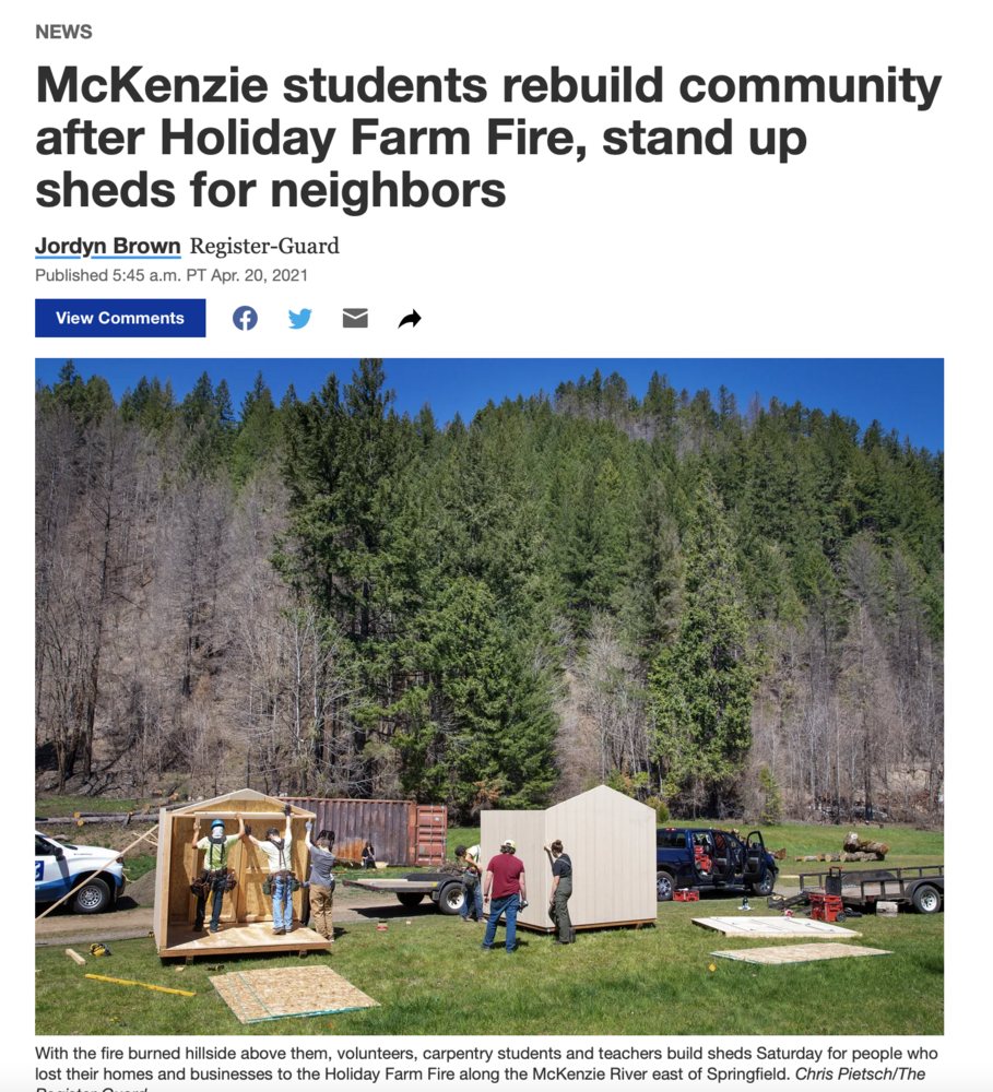 McKenzie students rebuild community after Holiday Farm Fire, stand up sheds for neighbors