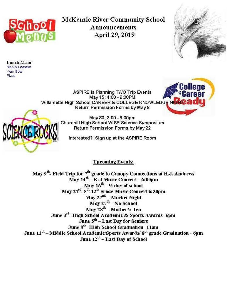 McKenzie River Community School Announcements April 29, 2019