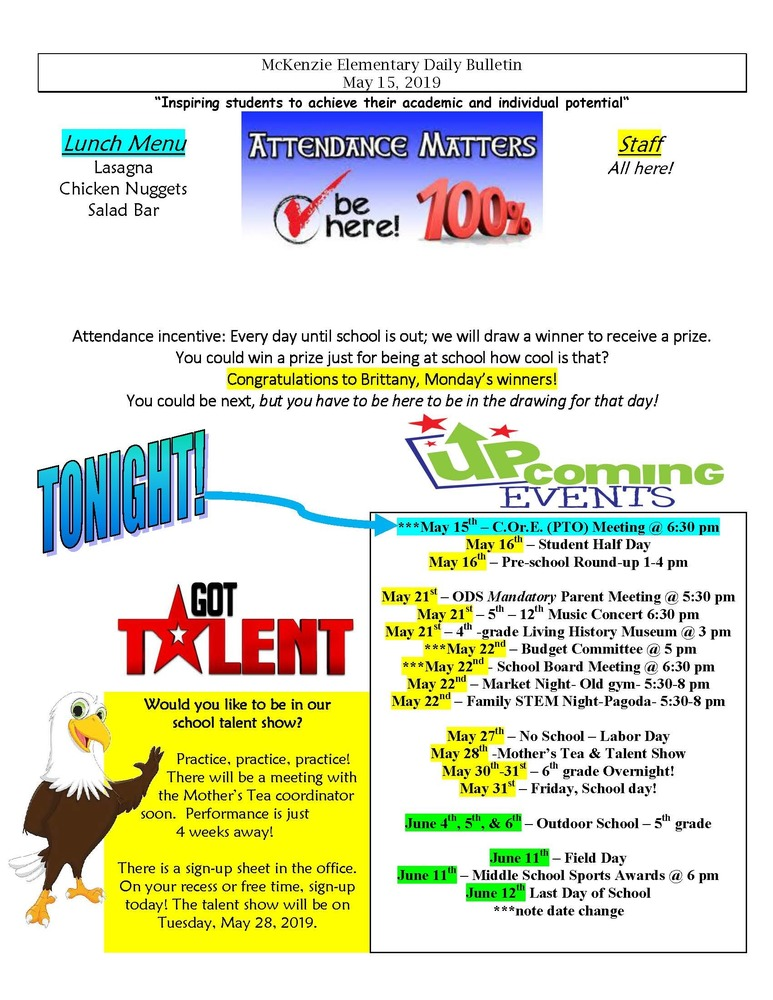McKenzie Elementary Daily Bulletin May 15, 2019