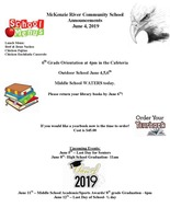 McKenzie River Community School Announcements June 4, 2019
