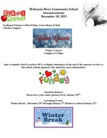 McKenzie River Community School Announcements December 18, 2019