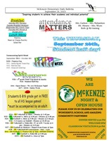 McKenzie Elementary Daily Bulletin September 24, 2019