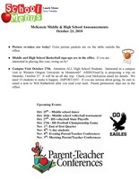 McKenzie Middle & High School Announcements October 23, 2018