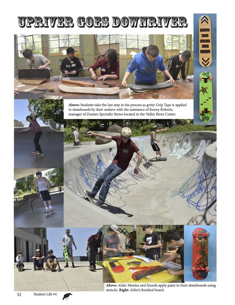 Shredding at the Washington Jefferson Skatepark students test their handmade product created in shop/design class.