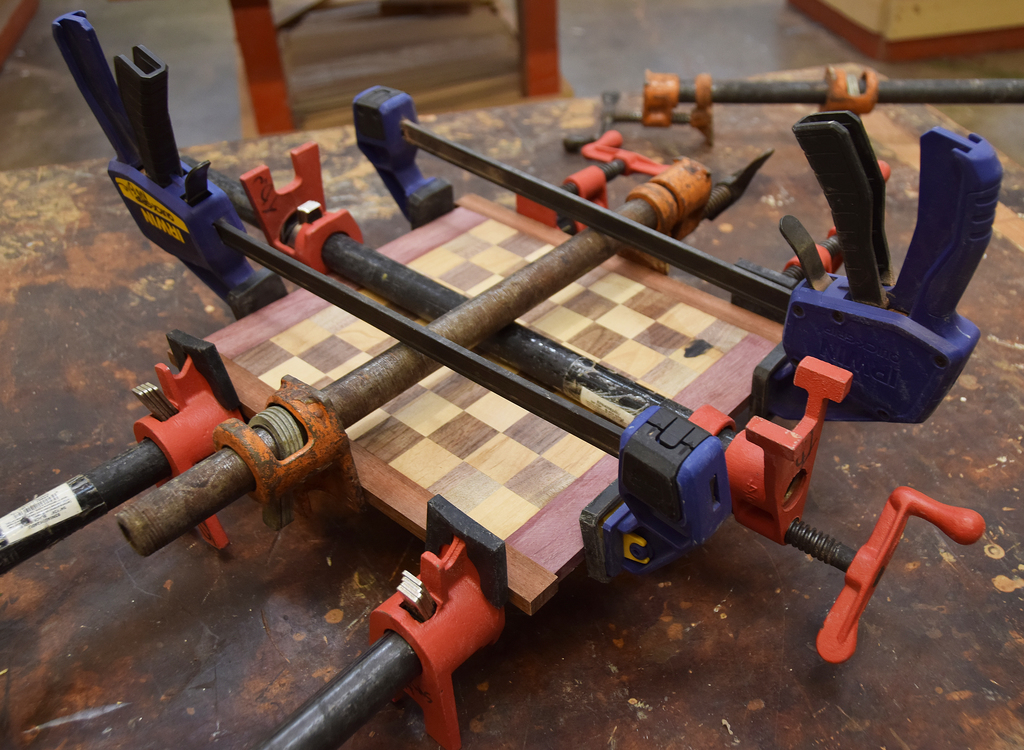 complicated clamping required to make the chessboard
