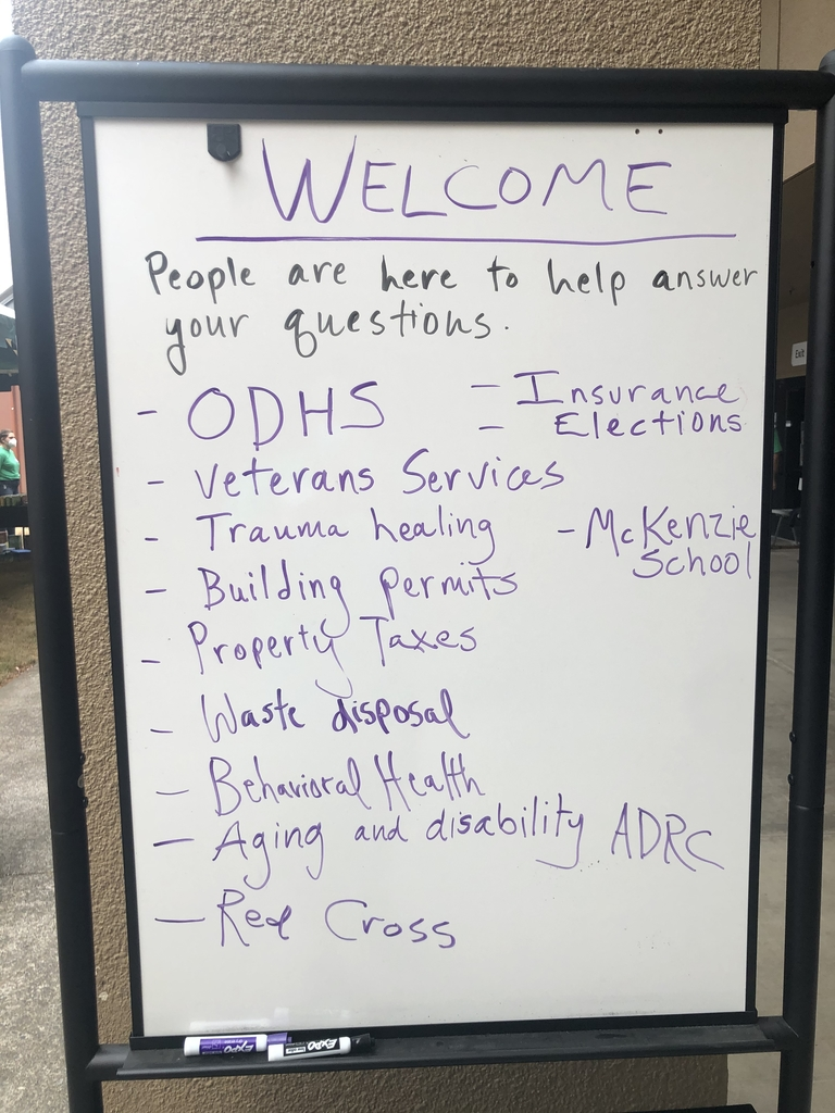 Photo of board outside of the MARC showing available services.